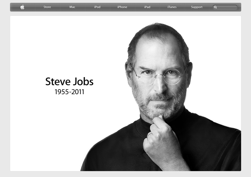 Apple homepage the day Steve died
